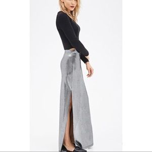 New F21 Dark Silver Metallic Maxi Skirt XS